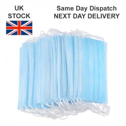 100 Pcs Disposable Face Masks 3Ply with Ear Loops Flu Masks